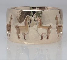 Load image into Gallery viewer, Custom Ring with an Llama punch cutouts - 14K Yellow Gold