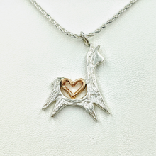 Load image into Gallery viewer, Alpaca or Llama Leaping with Open Heart Pendant - Sterling Silver with 14K Rose Gold Heart Accent