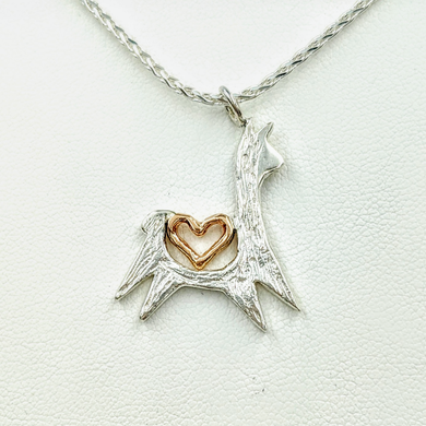 Alpaca or Llama Leaping with Open Heart Pendant - Sterling Silver with 14K Rose Gold Heart Accent