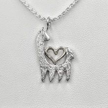 Load image into Gallery viewer, Alpaca or Llama Reflection Open Heart Pendant  - 14K White Gold