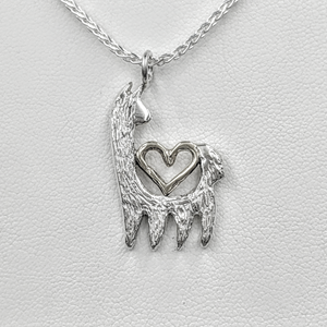 Alpaca or Llama Reflection Open Heart Pendant  - 14K White Gold