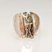 Load image into Gallery viewer, Custom Ring with Silhouette of Showstopper - Tami Lash's Champion Llama - Sterling Silver band with 14K Rose Gold Llama and 14K Yellow Gold hand with a diamond accent .in the 14K Yellow Gold hand