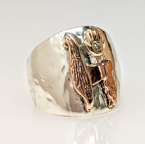 Custom Ring with Silhouette of Showstopper - Tami Lash's Champion Llama - Sterling Silver band with 14K Rose Gold Llama and 14K Yellow Gold hand with a diamond accent .in the 14K Yellow Gold hand