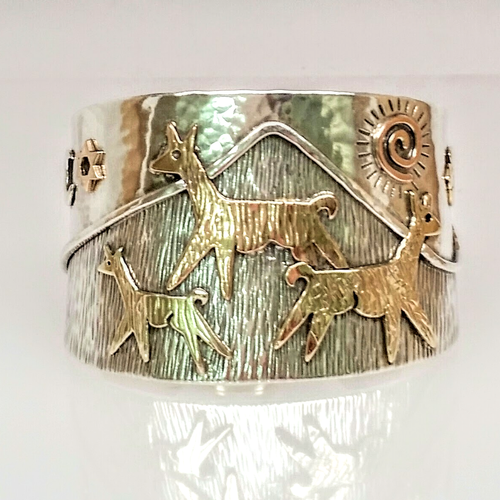 Alpaca or Llama Symbolic Extra Wide Custom Cuff Bracelet - One of a Kind!