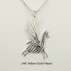 Alpaca or Llama Winged Soaring Spirit with Heart Pendant Sterling Silver animal with 14K Yellow Gold heart accent  smooth finish