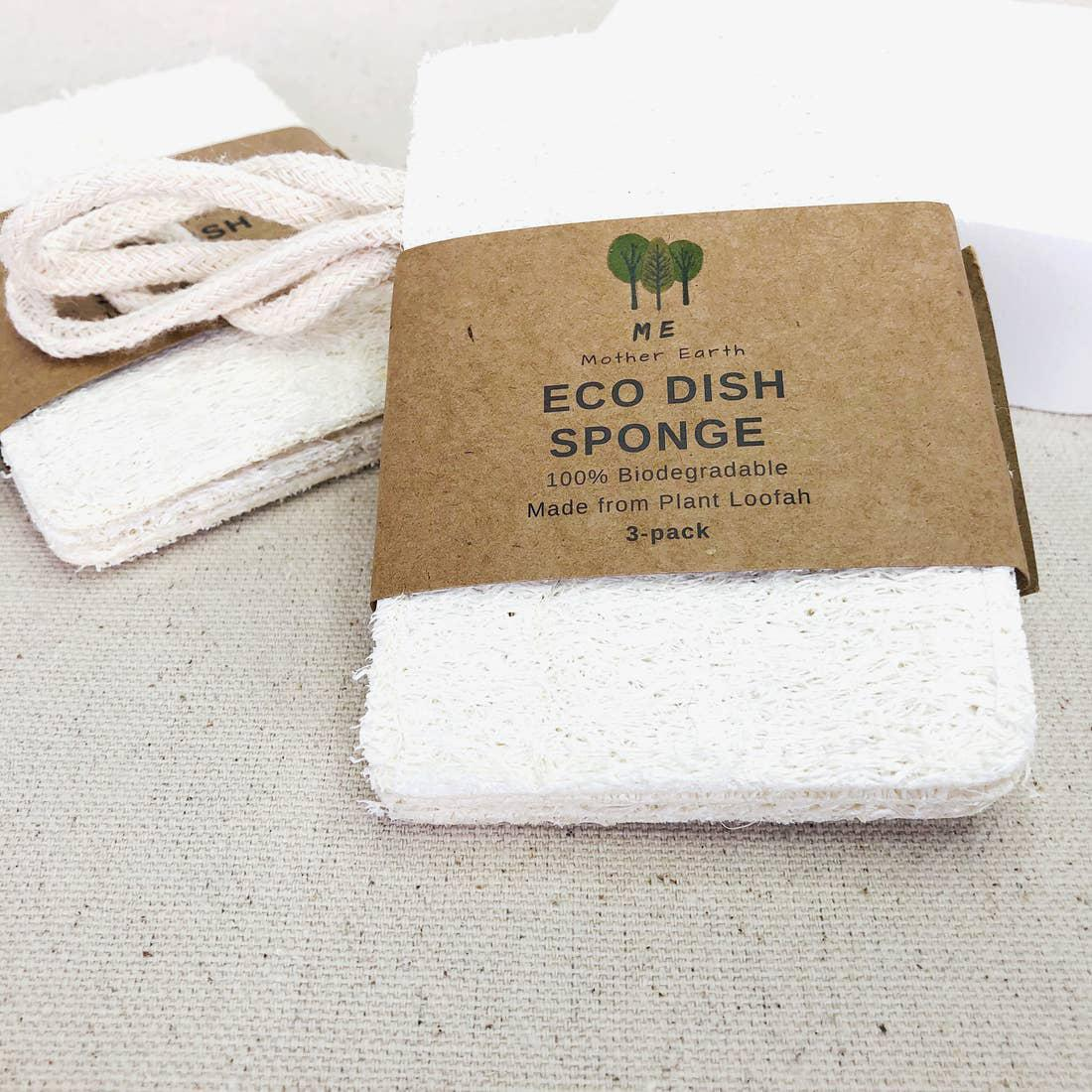 Loofah Dish Sponge: Double Layer with cotton loop 3-Pack - zero waste