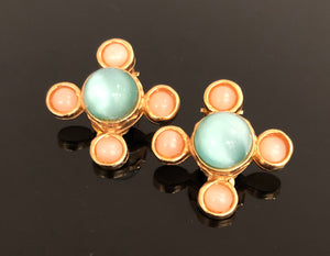 Multi opaque stone clip on earrings