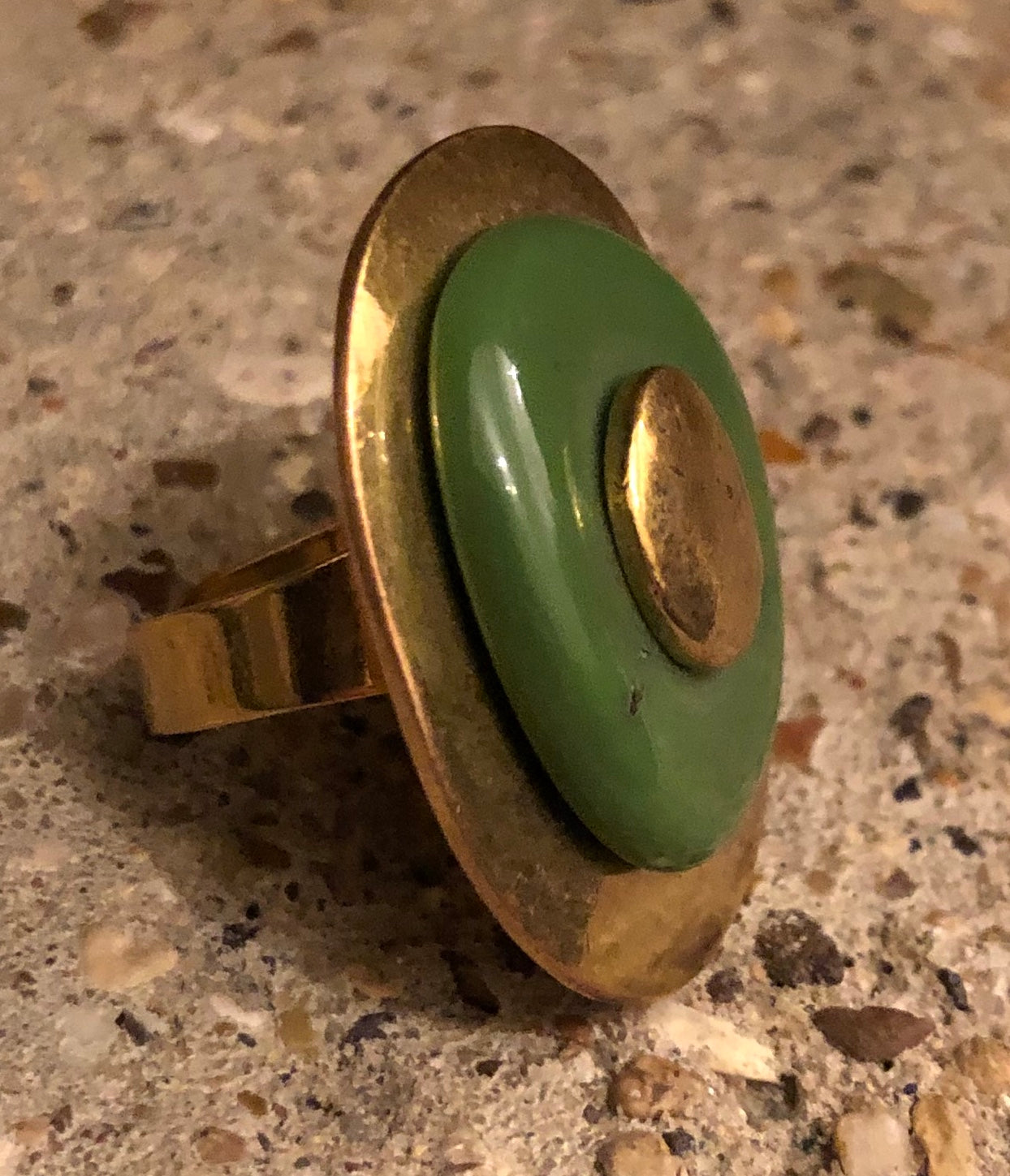 Brass Metal and Resin Cocktail Ring