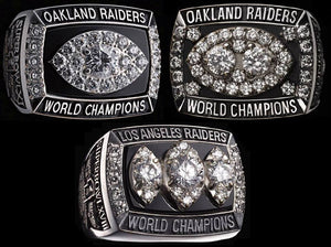 OAKLAND RAIDERS SUPER BOWL REPLICA THREE RING RING SET & DISPLAY CASE