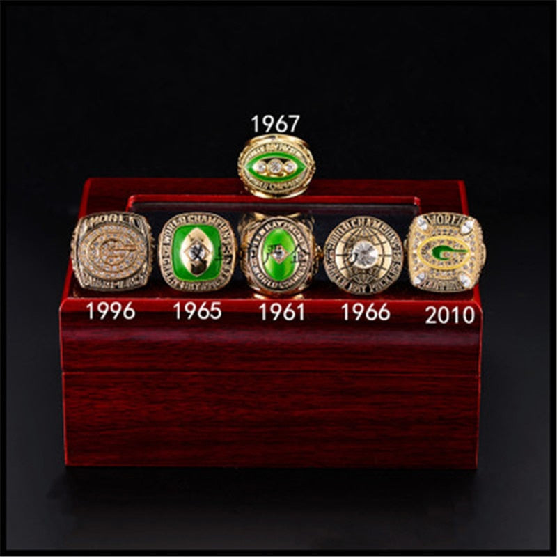 GREEN BAY PACKERS SIX(6) RING SUPERBOWL REPLICA RING SET