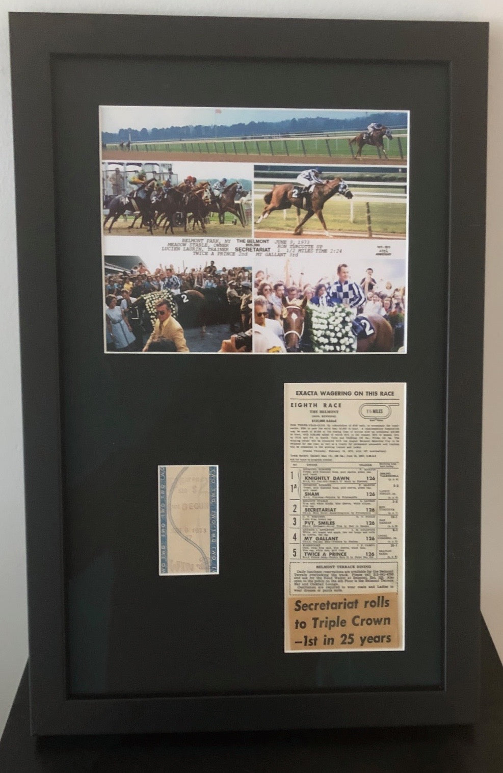 SECRETARIAT 1973 TRIPLE CROWN WINNING UNCASHED TICKET / FULL PROGRAM / FINISH LINE PHOTO