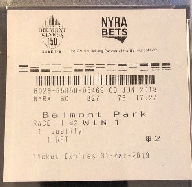 JUSTIFY TRIPLE CROWN WINNING TICKET BELMONT STAKES