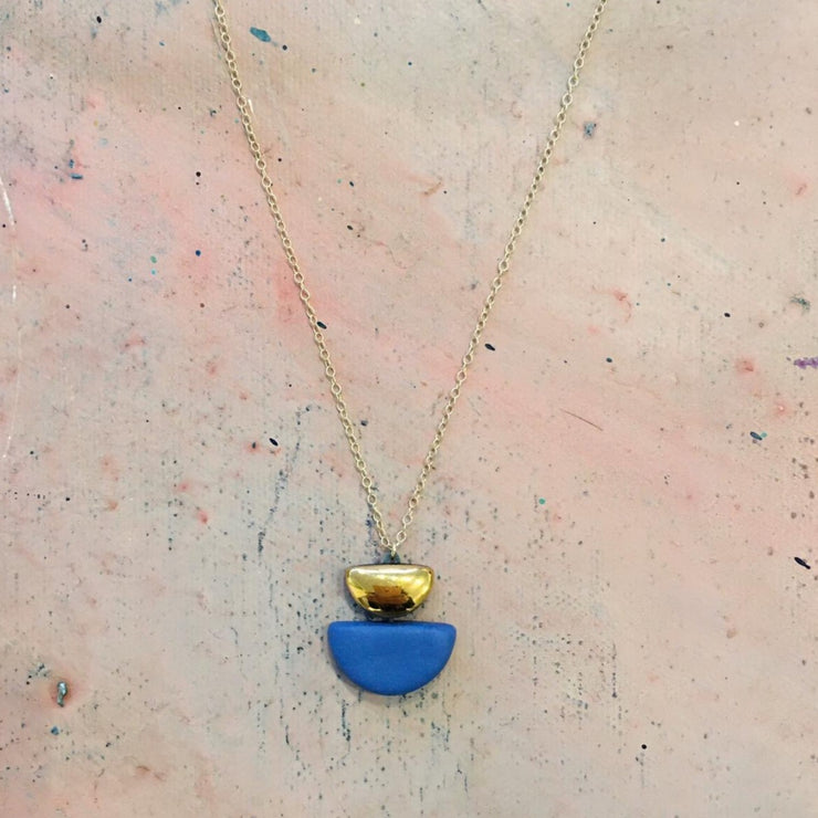 semi circle blue necklace