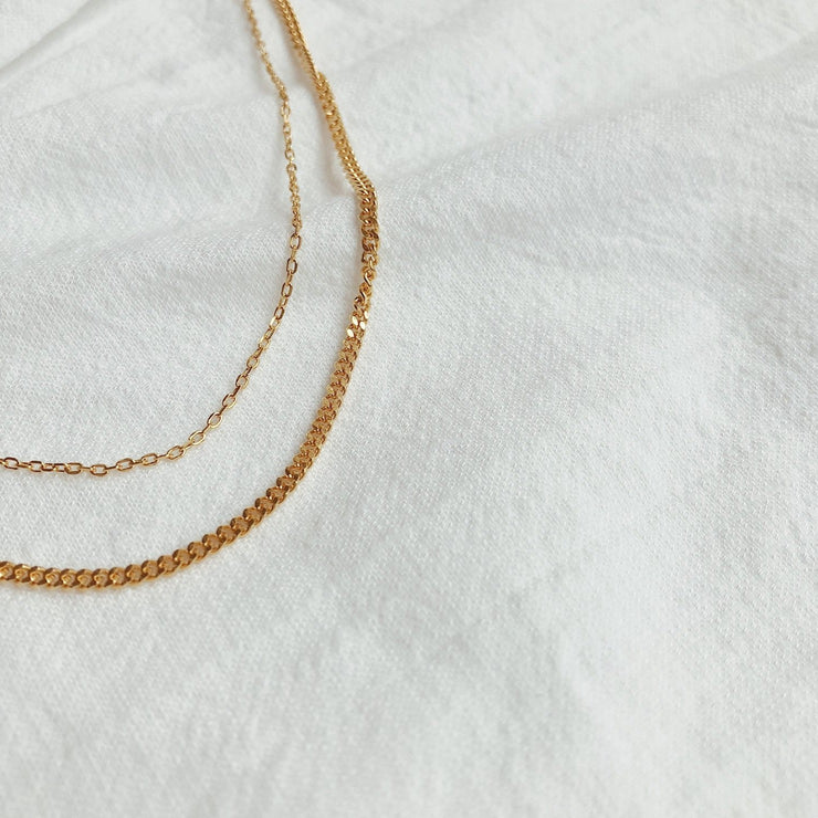 double chain necklace gold lines and current