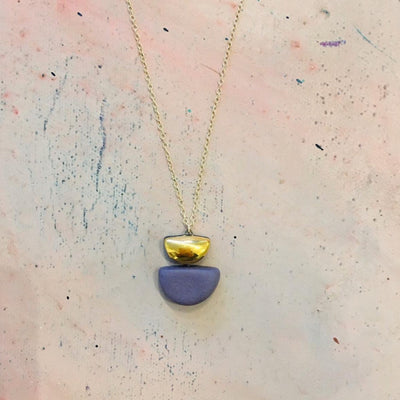purple semi circle necklace