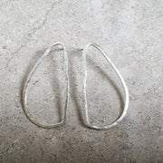 oval drop earring silver lines and current