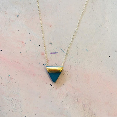 teal triangle necklace