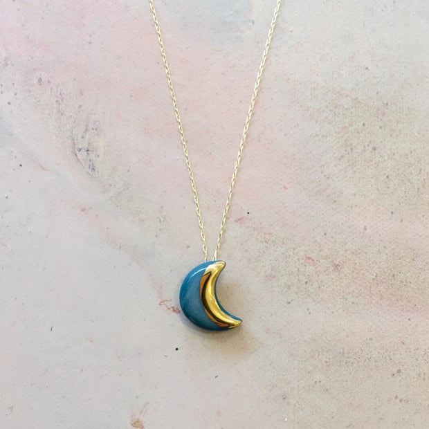 teal moon necklace