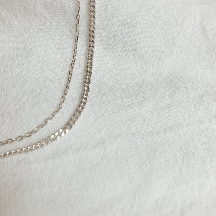 double chain necklace silver lines and current