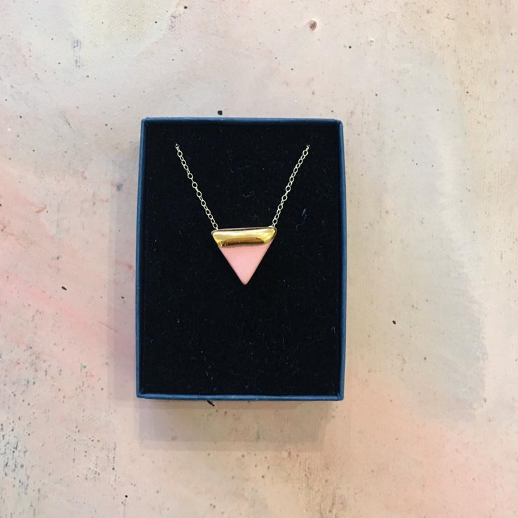 triangle necklace pink