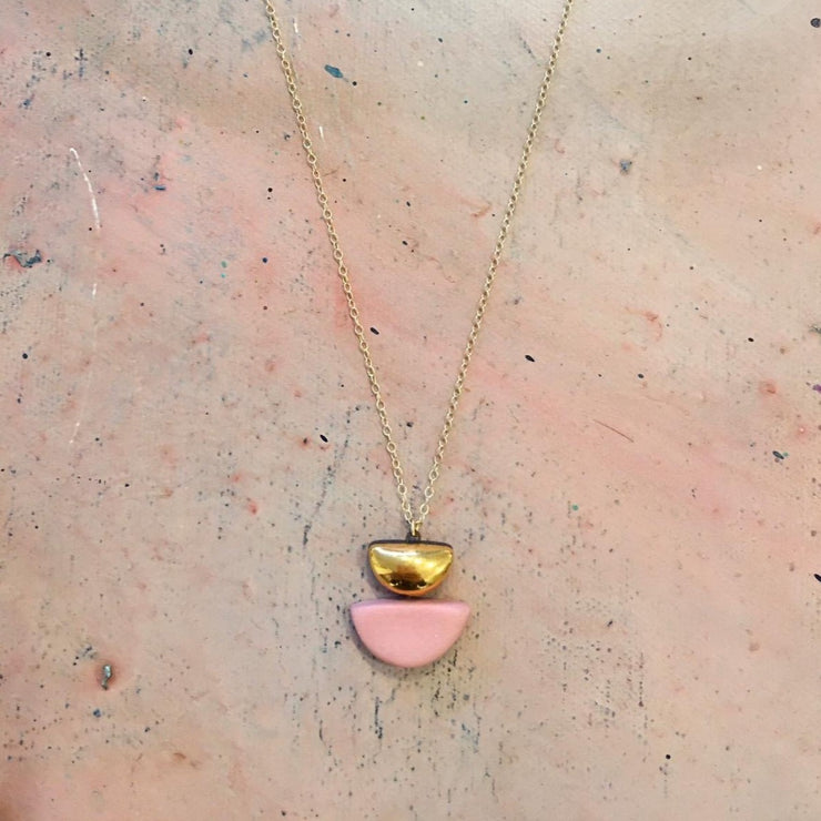 pink semi circle necklace