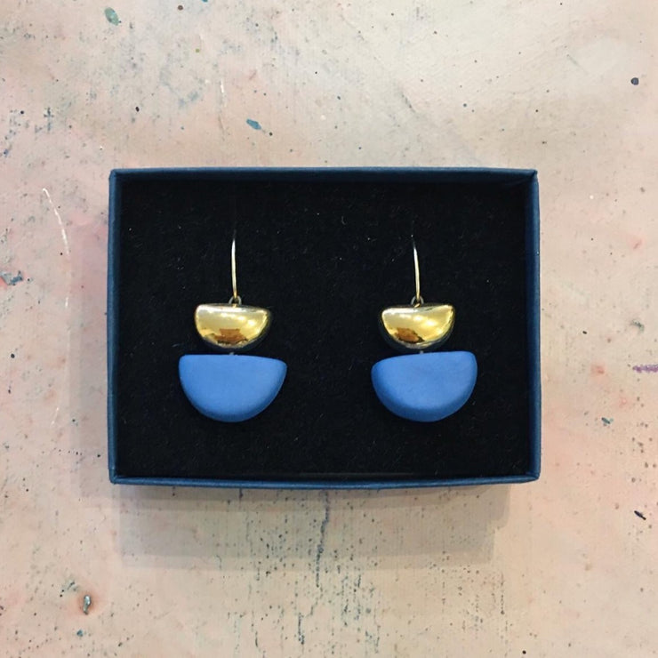 blue semi circle earrings
