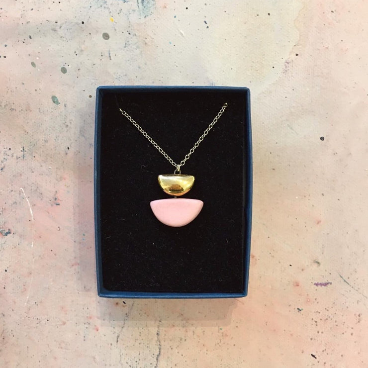 semi circle pink necklace