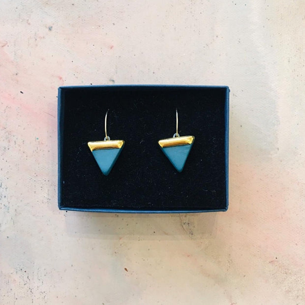 teal triangle earrings