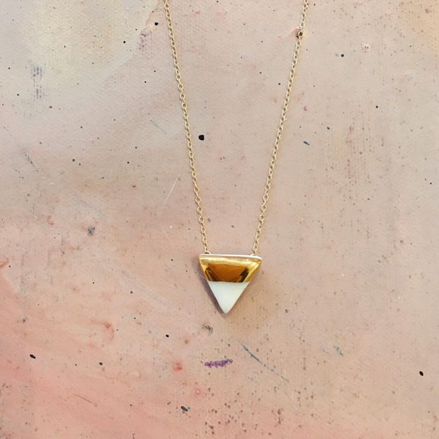 white triangle necklace