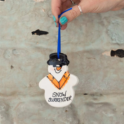 snow surrender snowman decoration