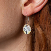 Oval Tree Hooped Earrings