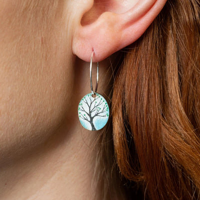 turquoise oval hooped earrings