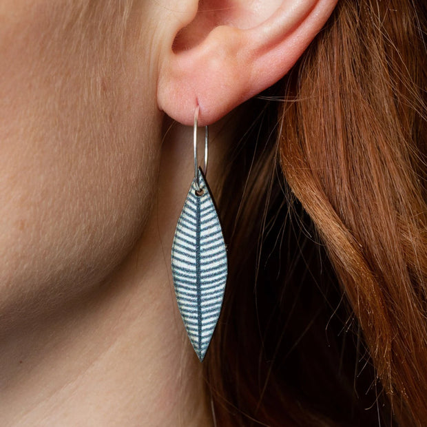 Leaf Drop hooped earrings