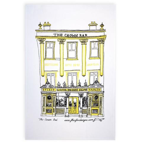 crown bar belfast tea towel