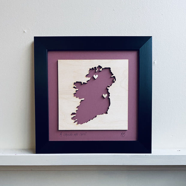 Personalised Ireland Map - Dusky Pink