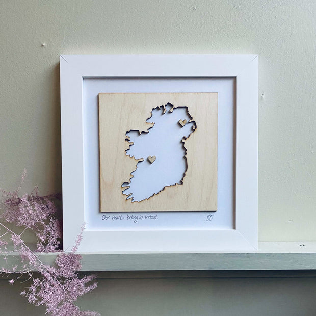 wooden ireland map love