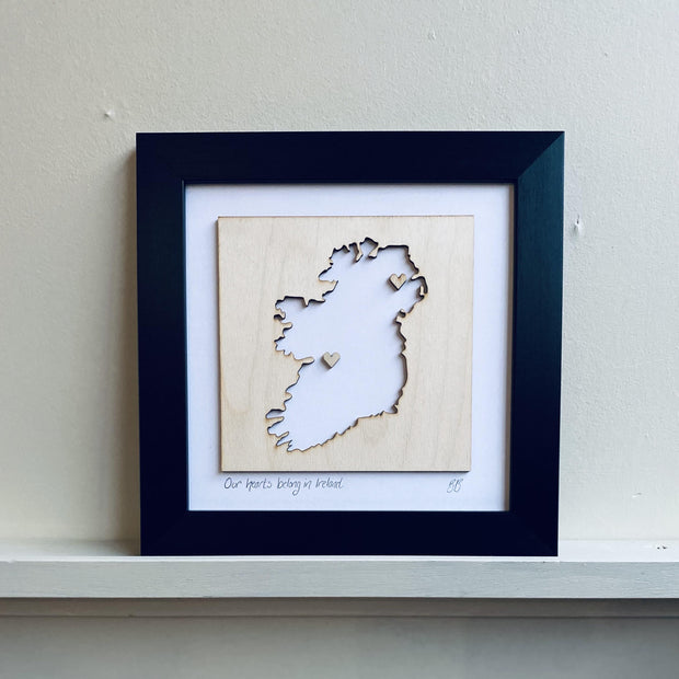 wooden ireland heart love map