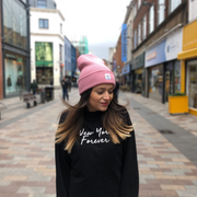 born & bred in northern ireland beanie pink