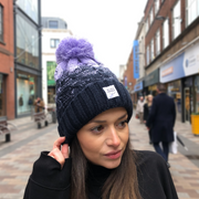 northern ireland pom pom hat purple