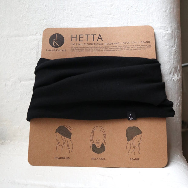 black beanie neck coil headband