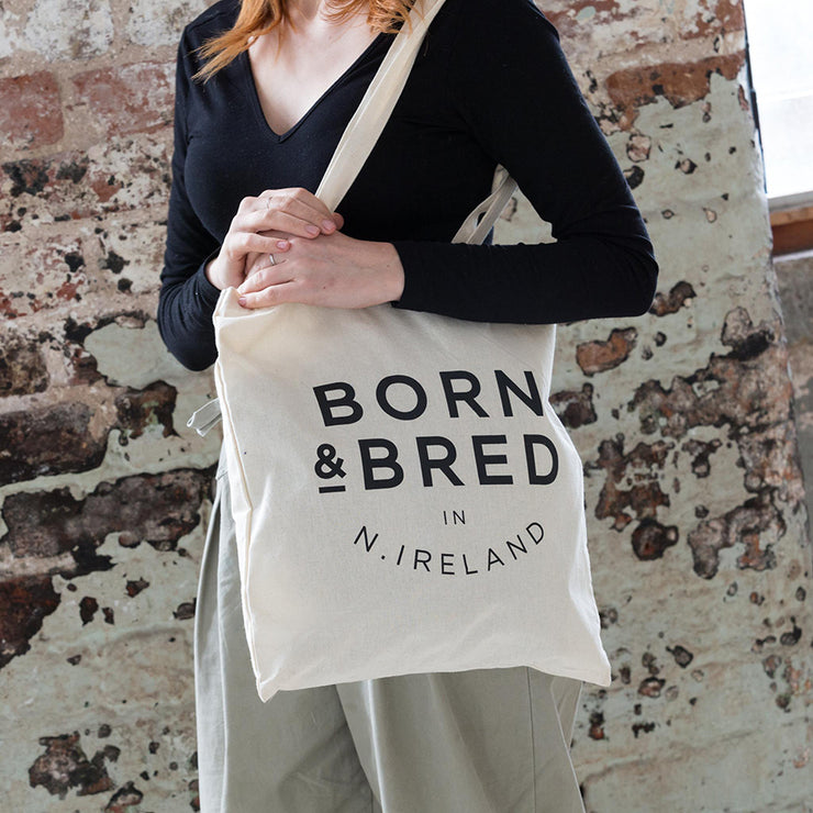 born & bred in Northern Ireland tote bag