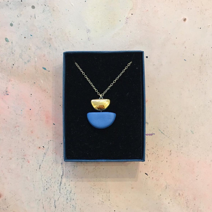 semi circle blue necklace boxed