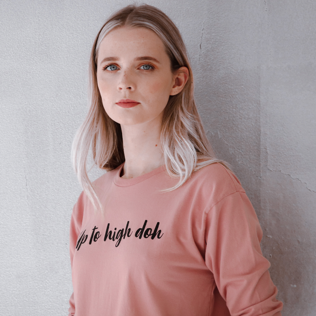 up to high doh pink long sleeve top