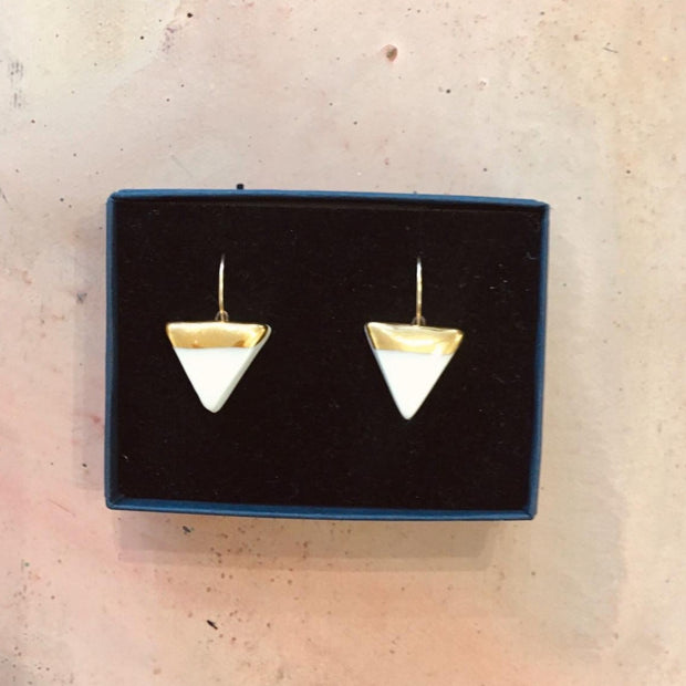 white triangle earrings