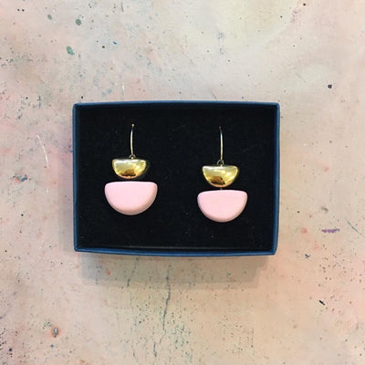 pink semi circle earrings