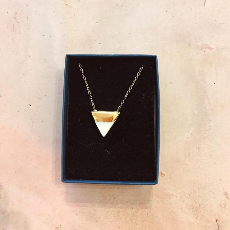 triangle necklace white