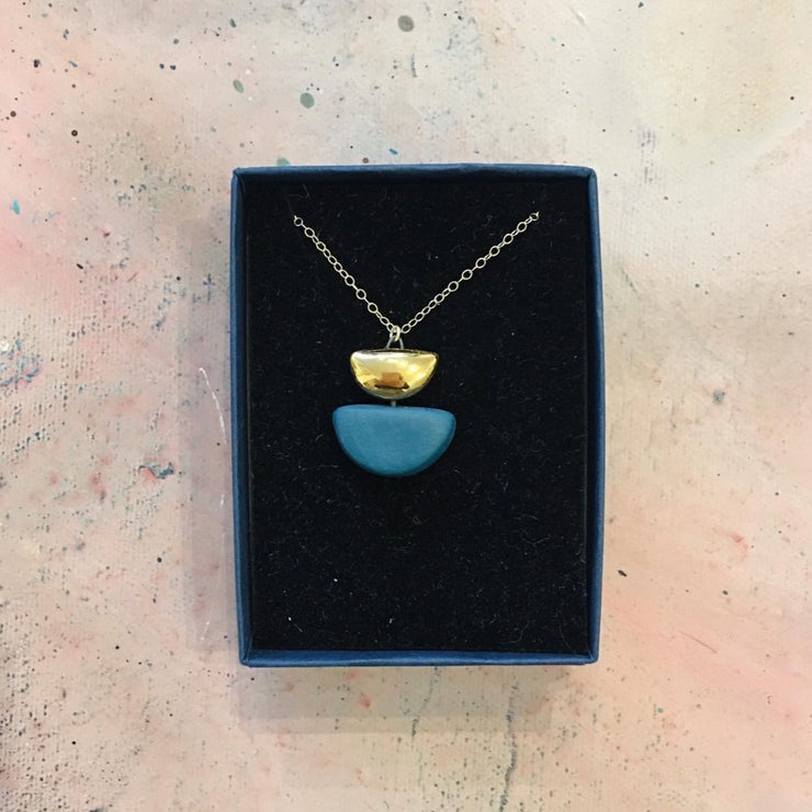teal semi circle necklace