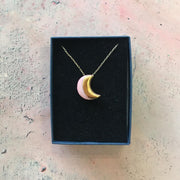 moon necklace pink