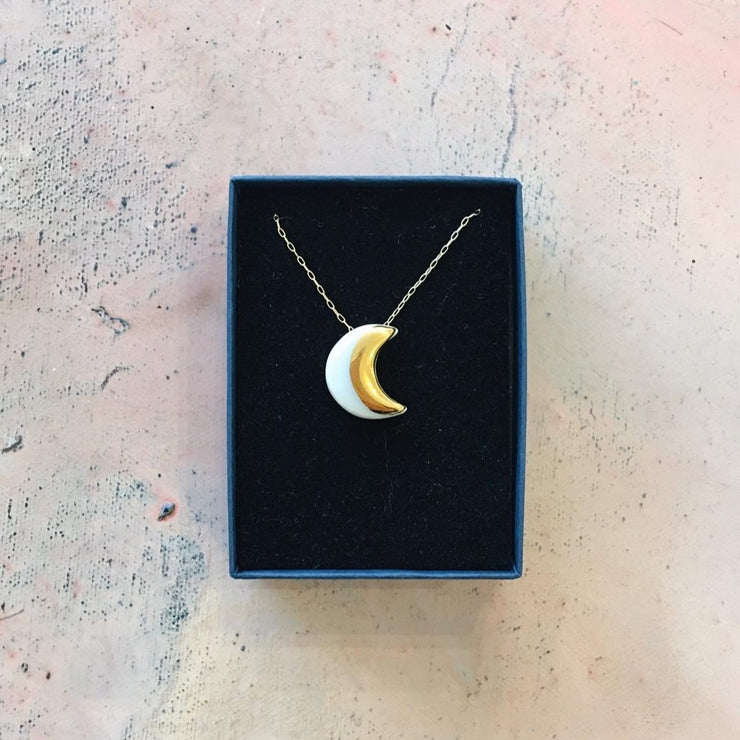 crescent moon necklace white