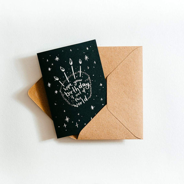 Hope your Birthday is out of this World recycled coffee cup Card